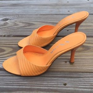 Nina orange genuine leather snake sandals